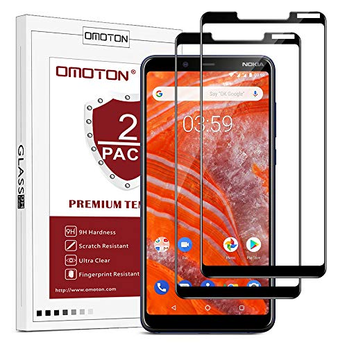 OMOTON [2 Stück Panzerglas Schutzfolie für Nokia 3.1 Plus (6 Zoll), volle Bedeckung, Anti- Kratzer, Bläschenfrei, 9H Härte, HD-Klar, 3D R&e Kante, Schwarz