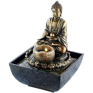 infactory Wasserbrunnen: Beleuchteter Zimmerbrunnen mit Buddha (Zimmerbrunnen LED)