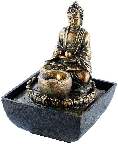infactory Springbrunnen: Beleuchteter Zimmerbrunnen mit Buddha