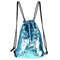 YoungRich Drawstring Backpack Glitter Mermaid Knapsack with Reversible Sequins Drawstring Bag with Adjustable Strap for Geocaching Yoga Mountain Walking Trail Running 17.7×12.6×0.8inch Blue Purple