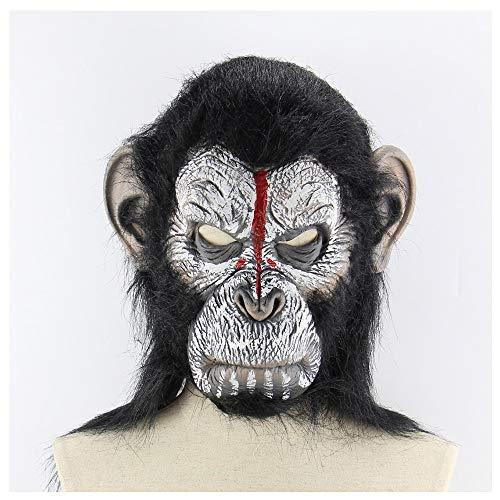 (Latexmaske Mann Schädel Orang-Utan Kopf Set Halloween Horror Scary Tier AFFE Maske)