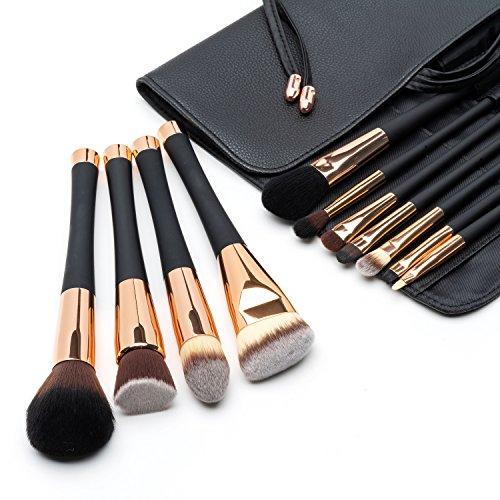 Pennelli Professionali da Make Up Fancii, Set di 12 Pennelli Cosmetici per il Trucco, Spazzole per il Make-Up con Setole Sintetiche di Altà Qualità e Borsetta da Viaggio in Ecopelle, Oro Rosa
