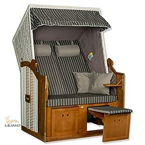 Baltic pantalon convertible pour fauteuil-cabine de plage 2 en 1–gris-lILIMO de treillis blanc