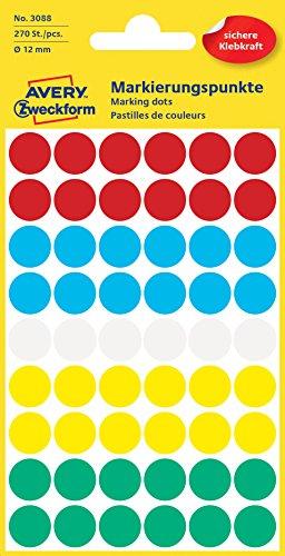 Avery 3088 Círculo Azul, Verde, Rojo, Color blanco, Amarillo 270pieza(s) - Etiqueta autoadhesiva (Azul, Verde, Rojo, Blanco, Amarillo, Círculo, Papel, 1,2 cm, 270 pieza(s), 54 pieza(s))