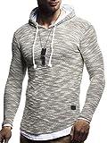 LEIF NELSON Herren Pullover Hoodie Kapuzenpullover Longsleeve Langarm Basic Sweatshirt T-Shirt Shirt Sweater LN8179; Größe XXL, Khaki