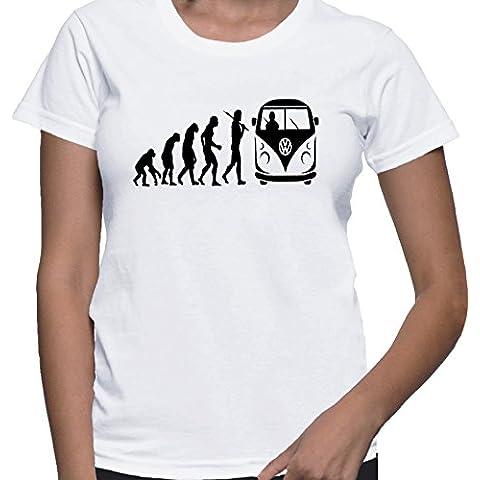 T-shirt da donna con evoluzione di un camper autobus amanti a forma di camper colore da uomo stampa.