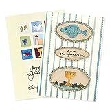 2er Set Glückwunschkarten zur Kommunion mit Umschlägen, Glückwunsch, Danksagung, Klappkarten, Kommunionkarten, Boot, Schiff, Wal, Wasser, edel, christlich