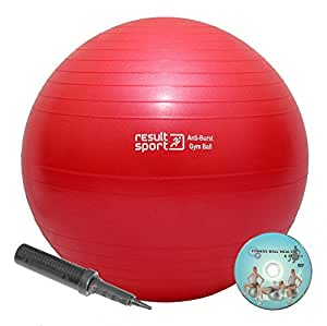 ResultSport® Anti-Burst Gym Ball 250kg load tested, DVD and Double Action Pump (55cm - Red)