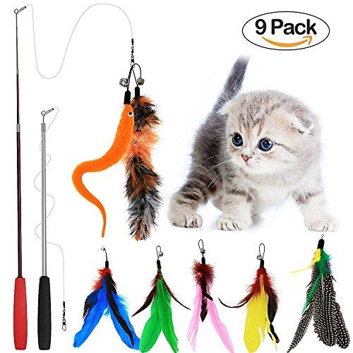 Tacobear 2er Pack Interaktives Katzen Spielzeug mit 7 Federn Katzen Feder Spielzeug für deine Katze und Kätzchen