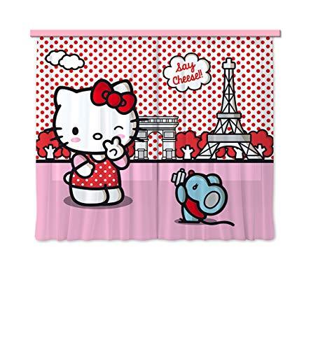 AG Design, Tenda per cameretta Bambina, Motivo: Hello Kitty, 2 pz, 180 x 160 cm