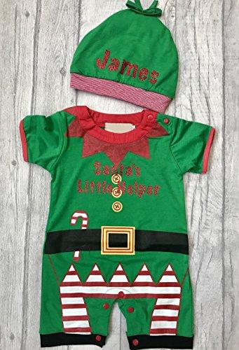 Jungen Santas Little Helper Weihnachtself Strampler mit Mütze (6–9Monate) (Santa ' S Helper Outfit)