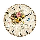 """Jinberry 12"""" (30cm) Retro Vintage Reloj de Pared Silenciosos Antiguo de Madera / Reloj Redondo Quartz Sin Tic Tac para Dormitorio , Salon , Oficina y Cocina"""