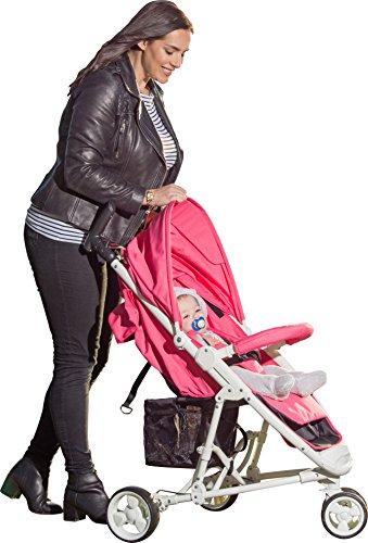 Warenkorb Einfach Räder (SleekZen Zusammenklappbar Buggy | Klein Leicht Babywagen mit Liegeposition für Kinder bis zu 15 kg (0-36 Monaten) | Verstellbar Rückenlehne, Kabinenhaube, Fußstütze & 5-Punk Gurtsystem | Korb 5 kg | Rosa)