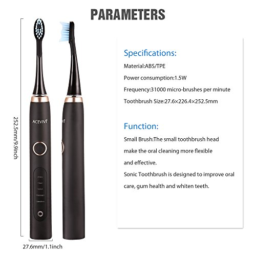 51U28 3c75L - Guisee S8 Electric Toothbrush Sonic With Sound Technology Deep Cleaning Rechargeable, 2 Minute Timer, 5 Cleaning Modes, 3 Brush Heads Black Brush Heads (Black)