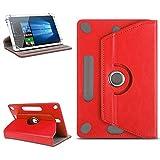 NAUC Universal Tablet Tasche Hülle für 10-10.1 Zoll Schutzhülle Tablettasche mit Standfunktion 360° drehbar hochwertige Verarbeitung viele Motive Universal Tablethülle Case, Farben:Rot