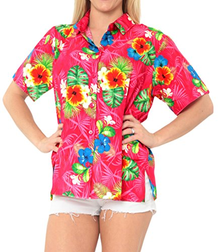La Leela Entspannt Hawaiihemd Urlaub Blusen zuknöpfen Frauen mit Kurzen Ärmeln Rosa l (Genial Kleid Hemden Für Männer)