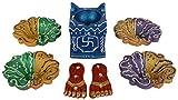 Hind Hastkala Terracotta Hand Painted Diwali Diya, Tulsi Diya and Sricharan (8.5 cm x 8.5 cm x 2.5 cm, Pack of 7)