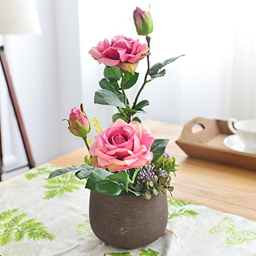 Ewig Tabelle (Gefälschte blume,Silk blume Simulation blume Rose Romantische geschenke Ewige blume Topfpflanzen Wohnzimmer Indoor esstisch-A 35x20cm(14x8inch))