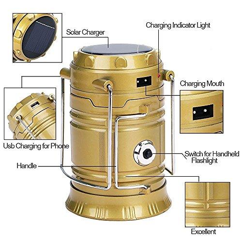 GL-85 Solar LED Emergency Light, USB Mobile Charger & 3 Power Source Hiking Lantern (Black & Gold)