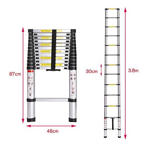 Coocheer Aluminium Klappleiter Teleskopleiter Ausziehbare und Rutschfeste Anlegeleiter Max Belastbarkeit bis 150 KG (3.8M Teleskopleiter)