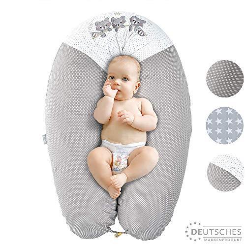 Ökotex XXL Stillkissen Schwangerschaftskissen Lagerungskissen Seitenschläfer-Kissen| Extra leise Füllung | Bezug 100% Baumwolle | Made in Europa von Sei Design