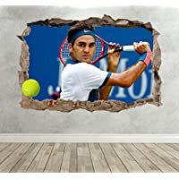 3D Roger Federer Tennis Smashed Breakout Wall Sticker Boys Girls Bedroom - Extra Large Landscape 100cm (w) X 70cm (h) preiswert