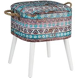Banqueta baúl étnica azul de madera para decoración Vitta - Lola Derek