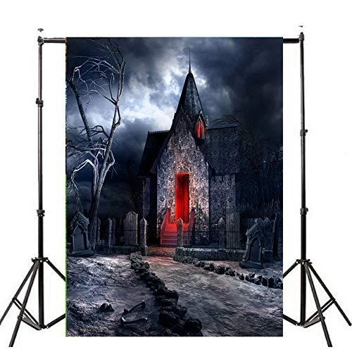 (Deloito Halloween Hintergründe Kürbis Vinyl 3x5FT Laterne Wandtattoo Hintergrund Fotografie Studio Wandaufkleber (I, 90cm*150cm))