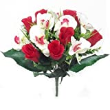 Blumenstrauß Rose und Orchidee–künstliche Seide Bush Blumen, rot / weiß, 1 Bunch