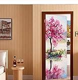 MVBGLK 3D Beautiful Flowers Tree Door Sticker Diy Mural Selfadhesive Wallpaper Removable Waterproof Poster Stickers Home Decor Decals-95x215cm