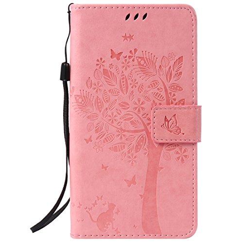 Chreey Coque Sony Xperia Z5 Plus / Z5 Premium (5.5 pouces) ,PU Cuir Portefeuille Etui Housse Case Cover ,carte de crédit Fentes pour ,idéal pour protéger votre téléphone ,(arbre - chat)