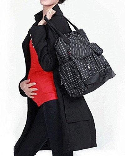 Wickeltasche Mama Pflegetasche Babytasche Windel Rucksack A Schwarz Punkt B Schwarz Punkt