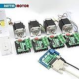 Strumento AiCheaX - Nave RUS/EU! Kit controller router CNC a 4 assi TB6560 Nema23 Motore passo-passo 270 oz-in (doppio albero)