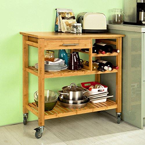 Sobuy Carrito de servir, estantería de cocina, carrito de cocina móvil, FKW23-N,ES
