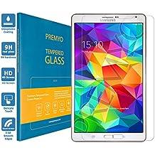 PREMYO cristal templado Tab S 8.4. Protector cristal templado Galaxy Tab S 8.4 con una dureza de 9H, bordes redondeados a 2,5D. Protector pantalla Galaxy Tab S 8.4