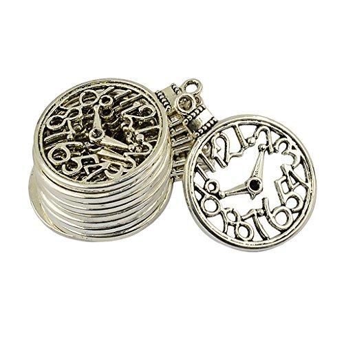 MagiDeal Antike Silber Vintage Charms DIY Anhänger Schmuckanhänger für DIY Schmuck - hohlen Uhr, 10 Stück (Antik-uhren Für Männer)