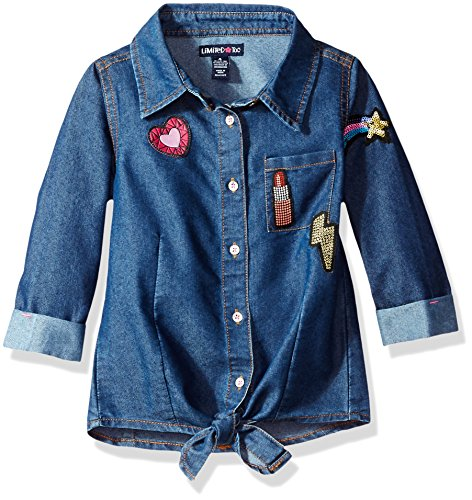 Limited Too Toddler Girls' 3/4 Sleeve Blouse (More Styles Available), Medium Blue Denim, 3T