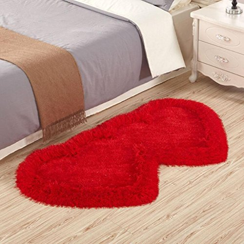 Tapis Xuan - Worth Having Double Soie Rouge Extensible de lit de Salon de Polyester de de Chambre à Coucher en Forme de Coeur (Taille : 70 * 140 cm)