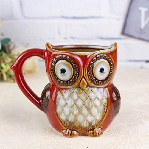 Wiederverwendbar Weihnachtsgeschenk 3D Tier Kreative Nette Eule Becher 300 Ml Cartoon Kaffeetasse Reise Keramik Milch Tee Tassen Frühstück Morgen Porzellantasse, Rot
