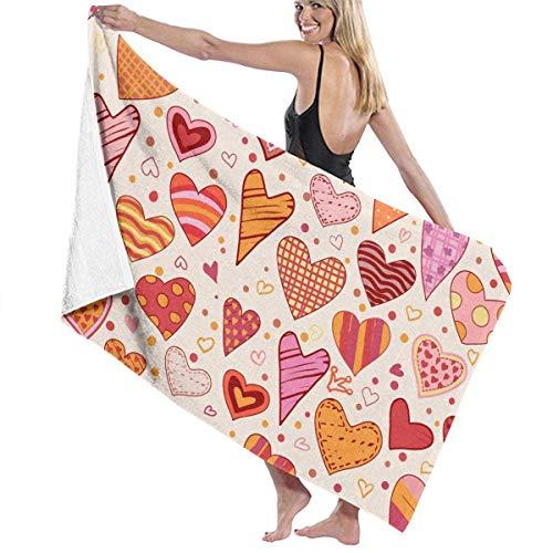 xcvgcxcvasda Serviette de bain, Cartoon Love Heart Premium 100% Polyester Large Beach Towel, Suitable for Hotel, Swimming Pool, Gym, Beach, Natural, Soft, Quick Drying (Hotel Londres)