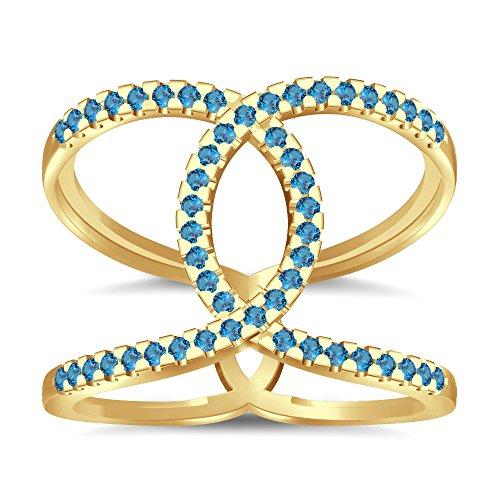 Silvernshine Halo Twist Aquamarine CZ Diamond Engagement Ring 14k Yellow Gold Plated Bridal Ring