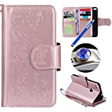 Huawei P8 Lite 2017 Leather Case,Huawei P8 Lite 2017 Wallet Case,Etsue[9 Card Slots]Pressed Girl Flower Cat Bird Pattern Retro Bookstyle Flip Case Cover with Strap Leather Wallet Case for Huawei P8 Lite 2017+Blue Stylus Pen+Bling Glitter Diamond Dust Plug(Colors Random)-Girl Cat,Rose Gold