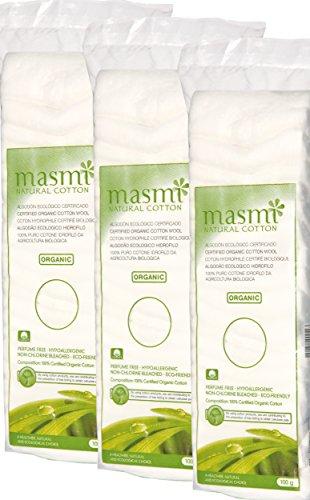 Masmi Natural Cotton Bio ouate Zigzag, Lot de 3 (3 x 100 g)