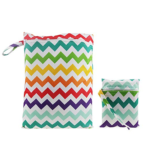 Minuya Baby Wickeltaschen Reisen Windeltasche für Nasse und Trockene Kleidung Wasserdicht Waschbar Reißverschluss Nasstaschen 2 Stück/Set