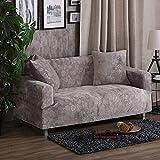SSDLRSF 2 Kissenbezüge Dicke Sofabezüge Stretch-Sitzbezüge Couchbezug Loveseat Funiture warp Handtuchüberzüge (90-300cm), Silber, 2 Sitzer 145-185cm