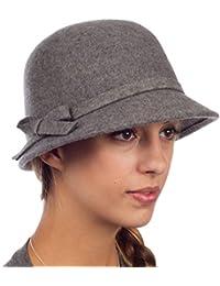 Sakkas 1LCSY Frauen Jahrgang Stil Wolle Topfhut Bucket Winter Hut with Bogen Akzent