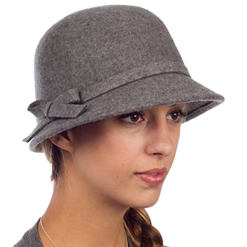Sakkas 0621LC - Womens Vintage Style Wolle Cloche Eimer Winter Hut mit Ribbon Bogen Accent - Grau / One (Grau Hut Eimer)