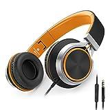 Ailihen C8 Auriculares de Diadema Cerrados con Cable, Auriculares Plegable con Micrófono y Control Remoto para Mp3, iPhone, Móvil Android, PC, Color Negro y Naranja