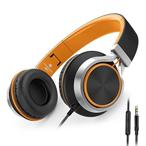 AILIHEN C8 Faltbar Kopfhörer mit Mikrofon und Lautstärkeregler on ear kopfhoerer für iPhone iPad iPod Android Smartphones PC Laptop Mac Mp3/mp4(schwarz / orange)