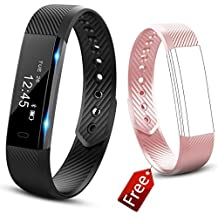Fitness Tracker Watch, JIUXI Activity tracker Impermeabile Bluetooth 4.0 Smart Band con Touch Screen e Pedometro, Distanza, Calorie Counter, Monitor Sonno, Allarme Sedentario, Notifiche di chiamata e messaggio per Android e IOS (Nero+Rosa band)